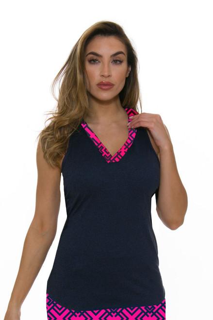 Allie Burke Navy Pink Geo Trim Golf Sleeveless Polo Shirt