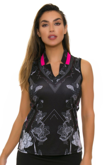 Lucky In Love Women's Off The Charts Notch Golf Sleeveless Shirt LIL-GT16-516001 Image 1
