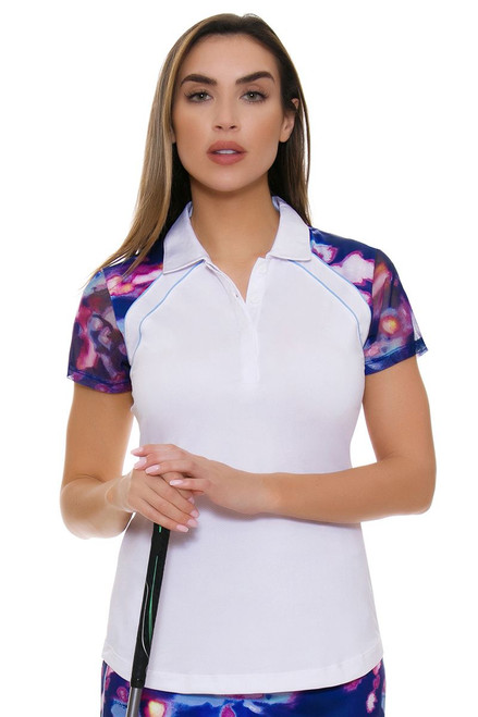 EP Pro NY Women's Luxor Print Trimmed Golf Cap Sleeve Polo