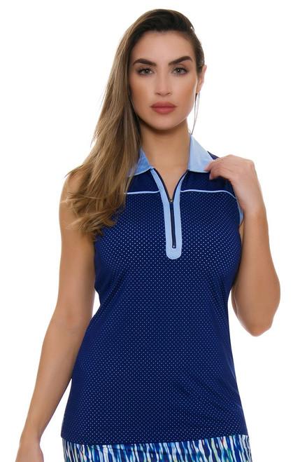EP Pro NY Women's Luxor Perforated Layered Zip Golf Sleeveless Shirt