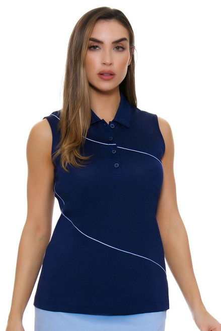 EP Pro NY Women's Luxor Curved Piping Trim Golf Sleeveless Shirt