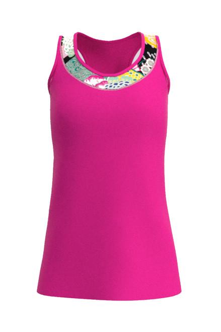 Allie Burke Women's Neon Pink Japanese Garden U-Neck Tennis Tank AB-TT01-NPJ