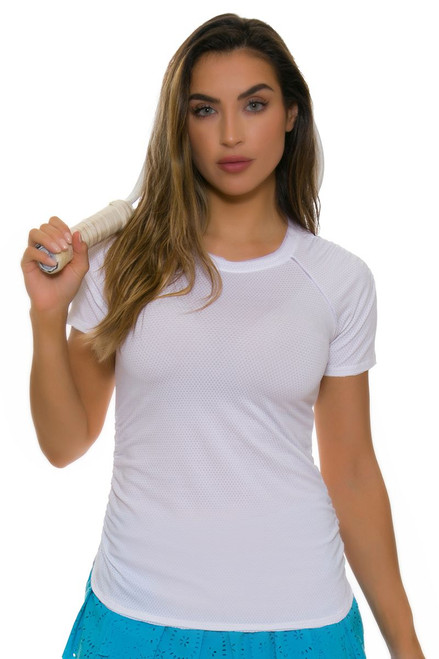 Lucky In Love Women's Core Surreal White Tennis Short Sleeve