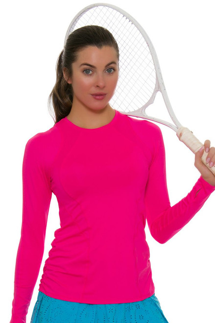 Lucky In Love Women's Core Contour Shocking Pink Tennis Long Sleeve