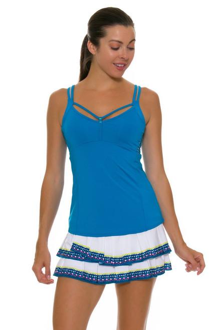 Lucky In Love Women's Boho Sense Bohemian Pleat Tier White Tennis Skirt