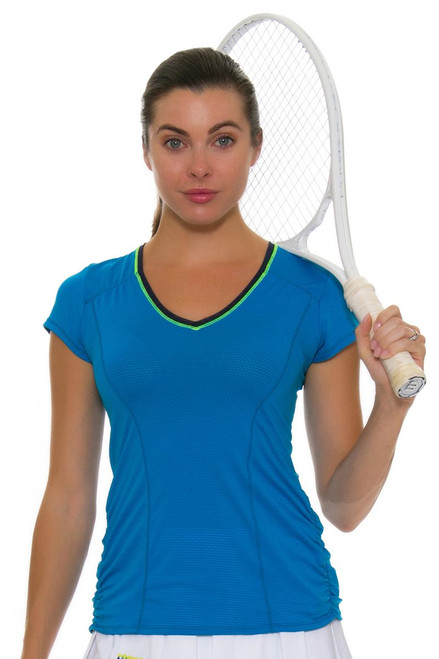 Lucky In Love Women's Boho Sense Uplift Short Sleeve Tennis Top
