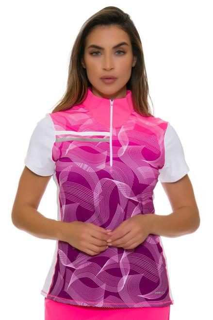 Annika Women's Intuition Print Mix Up Golf Cap Sleeve Top