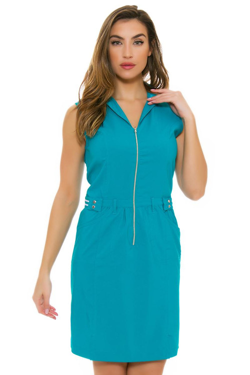 Cracked Wheat Women S Paradiso Caelie Teal Golf Dress Cwt