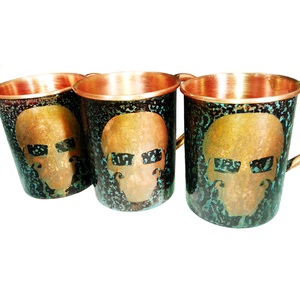Forced Patina Finish Mugs - GFT Garry Logo - Handmade in the USA by SouthPaw Knots