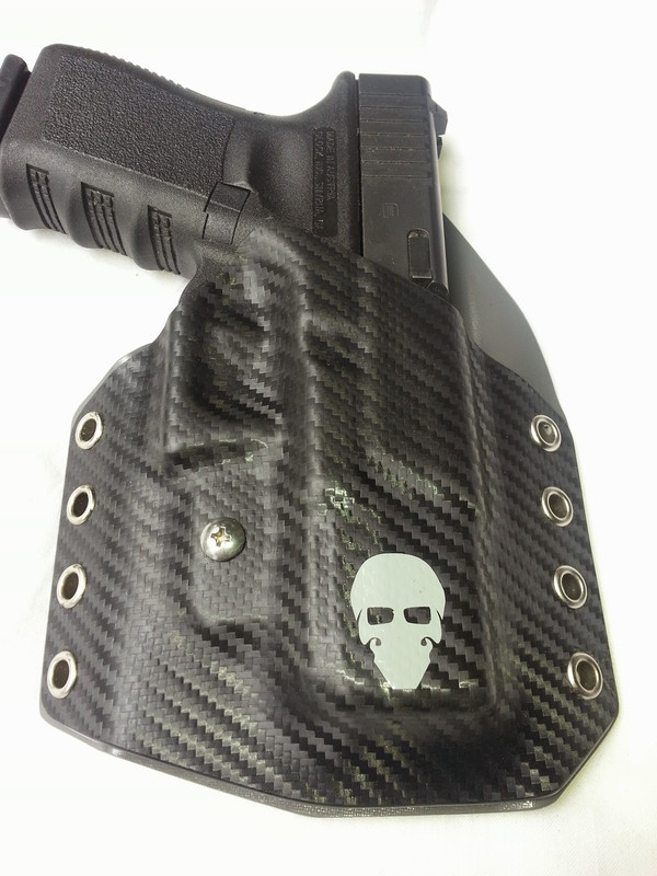 Custom Kydex Outside the Waistband (OWB) Holster - Front - Black Carbon Fiber
