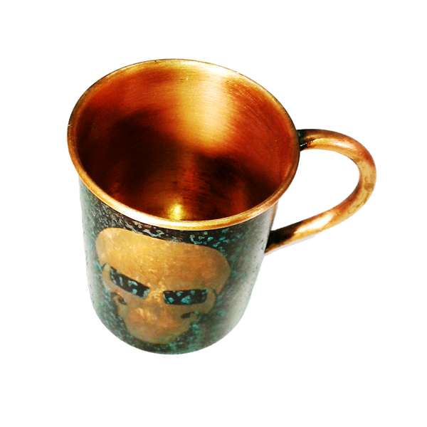 Forced Patina Finish Mugs - GFT Garry Logo - Handmade in the USA by SouthPaw Knots - Top View