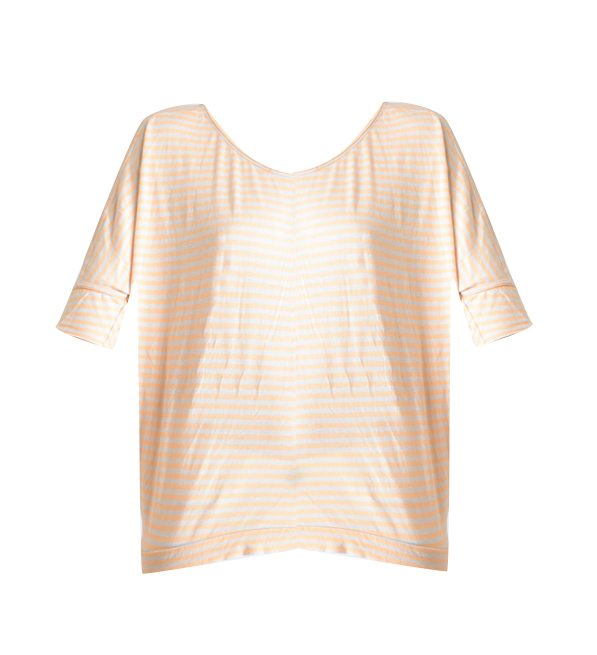 Humanoid Noor Striped T-Shirt in Gray and Orange