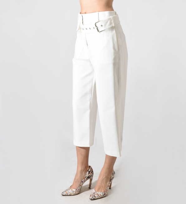 3.1 Phillip Lim Belted Cropped Wide Leg Pant in Antique White