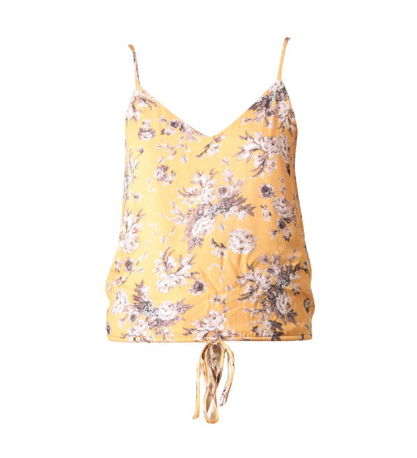 Lavender Brown Floral Cami with Waist Tie in Mustard