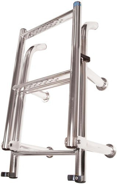 RWB Stainless Steel Open Top Compact Thin Ladders 4 Rung Angled Legs/Straight Legs