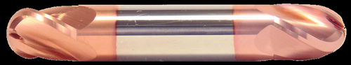 1/4 DIA, 2 Flute, Double End, Ball Nose, Stub Length, TiCN Coated