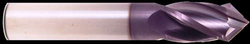 1/4 DIA., 4 Flute, 3/4 LOC, AlTiN Coated, 90° Carbide Drill Mill