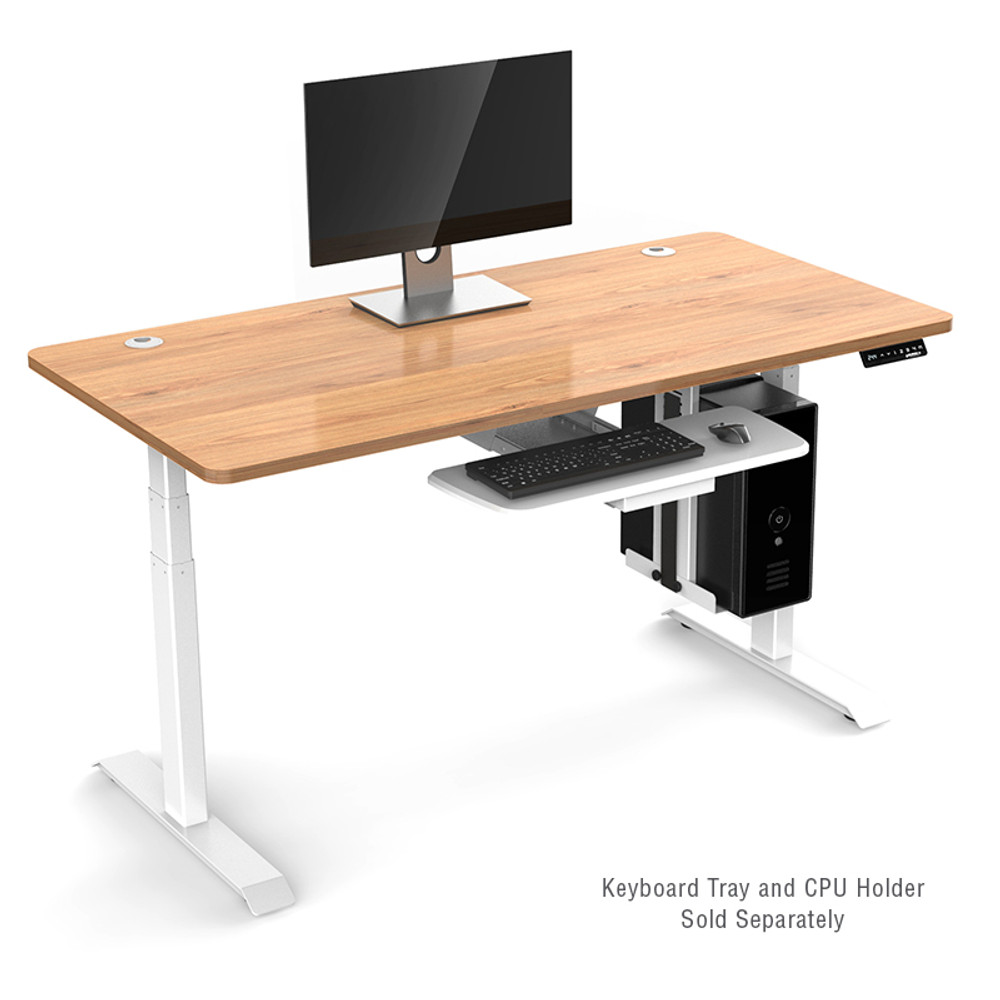 Eureka Ergonomic® Standing Desk E60 - Electric Height-Adjustable Desk - Wood with White Legs ERK-EDK-CW