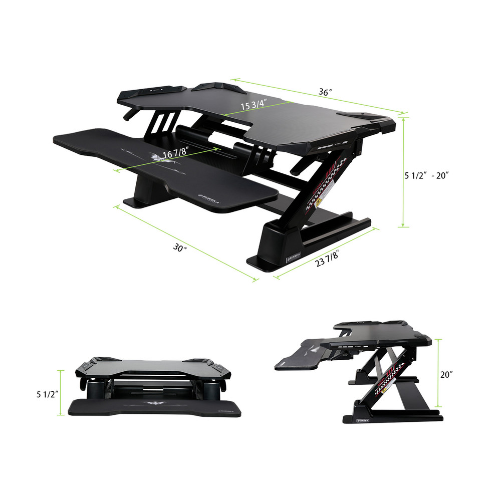 Eureka Ergonomic® Gaming Sit-Stand Desk 36, for PC Gamers, LED Lights, Black - 30 Day Risk Free Guarantee Plus FREE Shipping