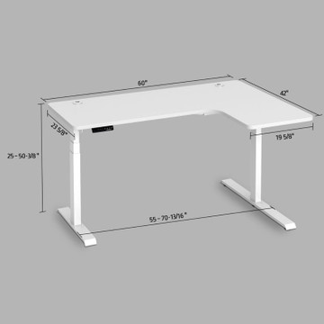Eureka Standing Desk E60 - L Shape Desk (Right) Electric Height-Adjustable - 30-Day Risk Free Guarantee Plus FREE Shipping