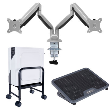 Eureka Gaming Desk Bundle - Includes Dual Monitor Arms, CPU Holder, and Foot Rest - 30 Day Risk Free Guarantee Plus FREE Shipping