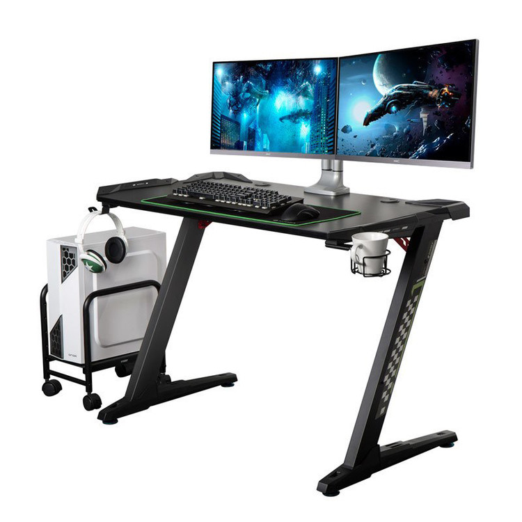Eureka Z1-S Gaming Desk - Gaming Bundle - Includes Computer Tower Stand and Dual Monitor Arm- 30 Day Risk Free Guarantee Plus FREE Shipping