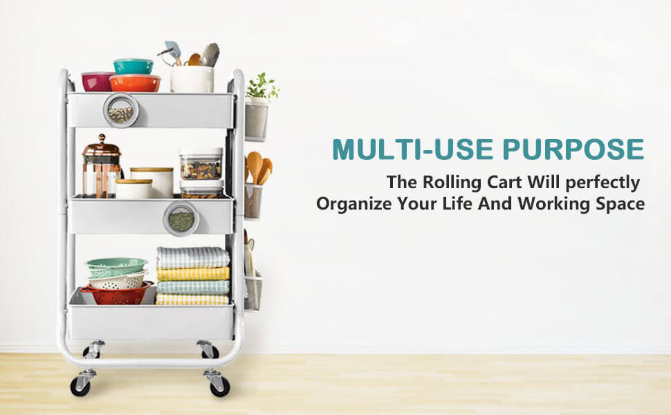 Eureka 3-Tier Metal Rolling Storage Cart with Utility Handle