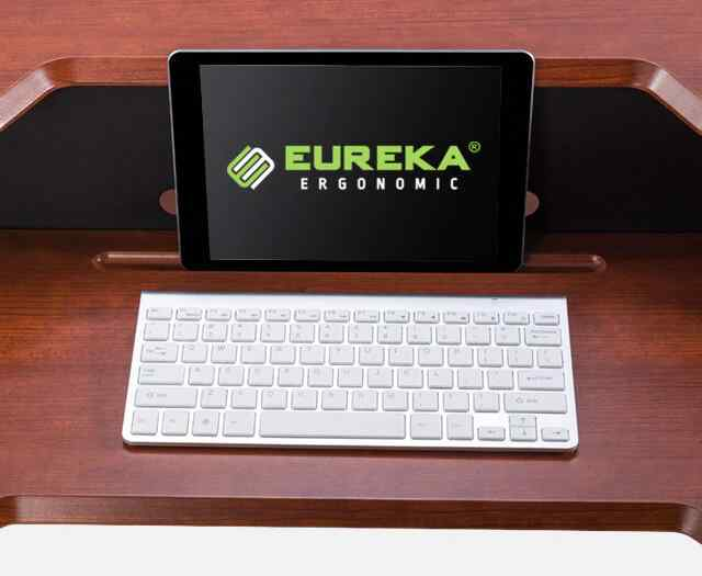 Eureka Ergonomic® Sit Stand Desk 31.5 Cherry - Single Arm - Height Adjustable Desk