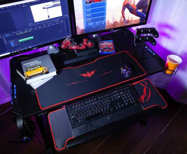 Z1 S Gaming Desk With Led Lights Controller Stand Cup