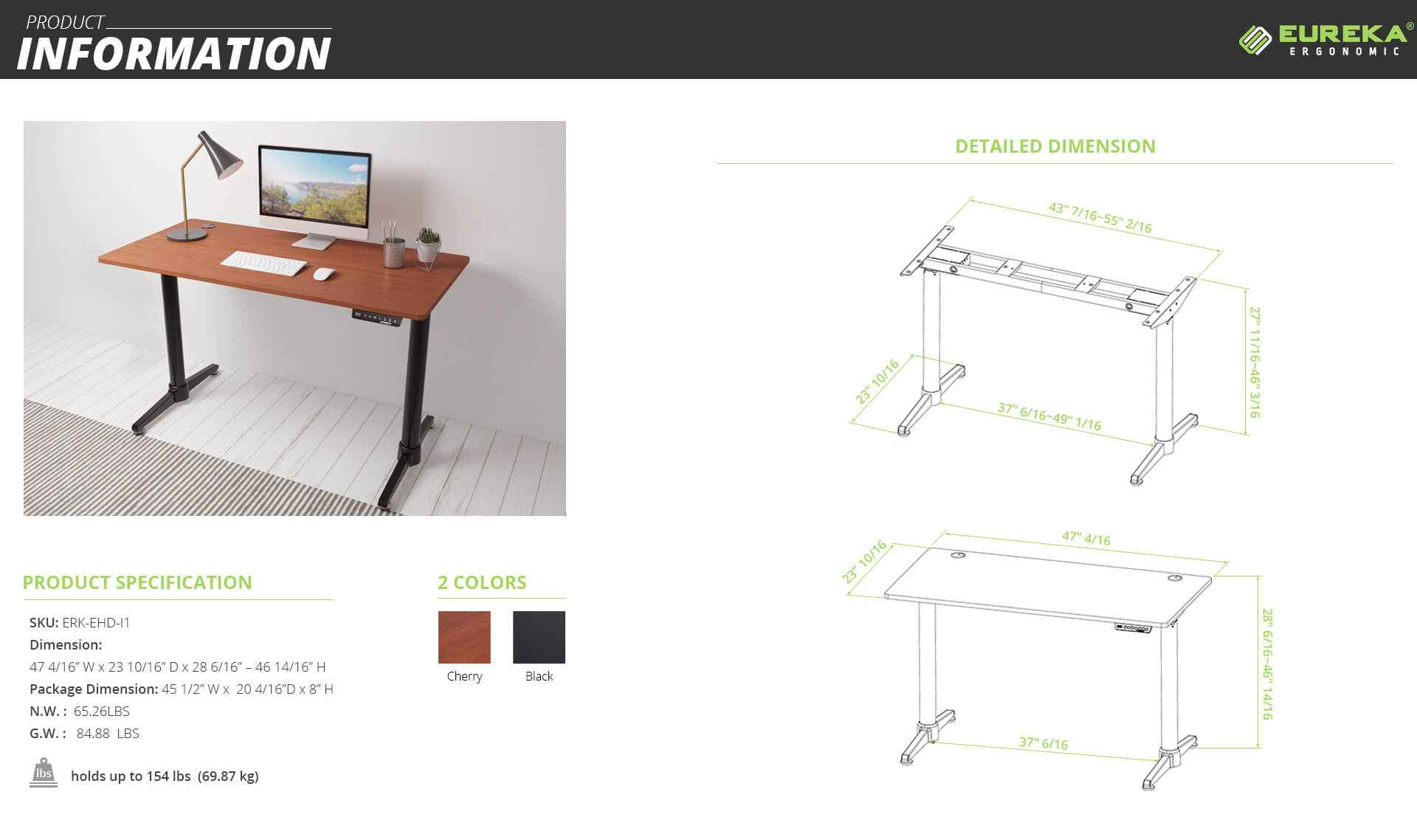 Eureka Ergonomic® Electric Height Adjustable Desk - Black