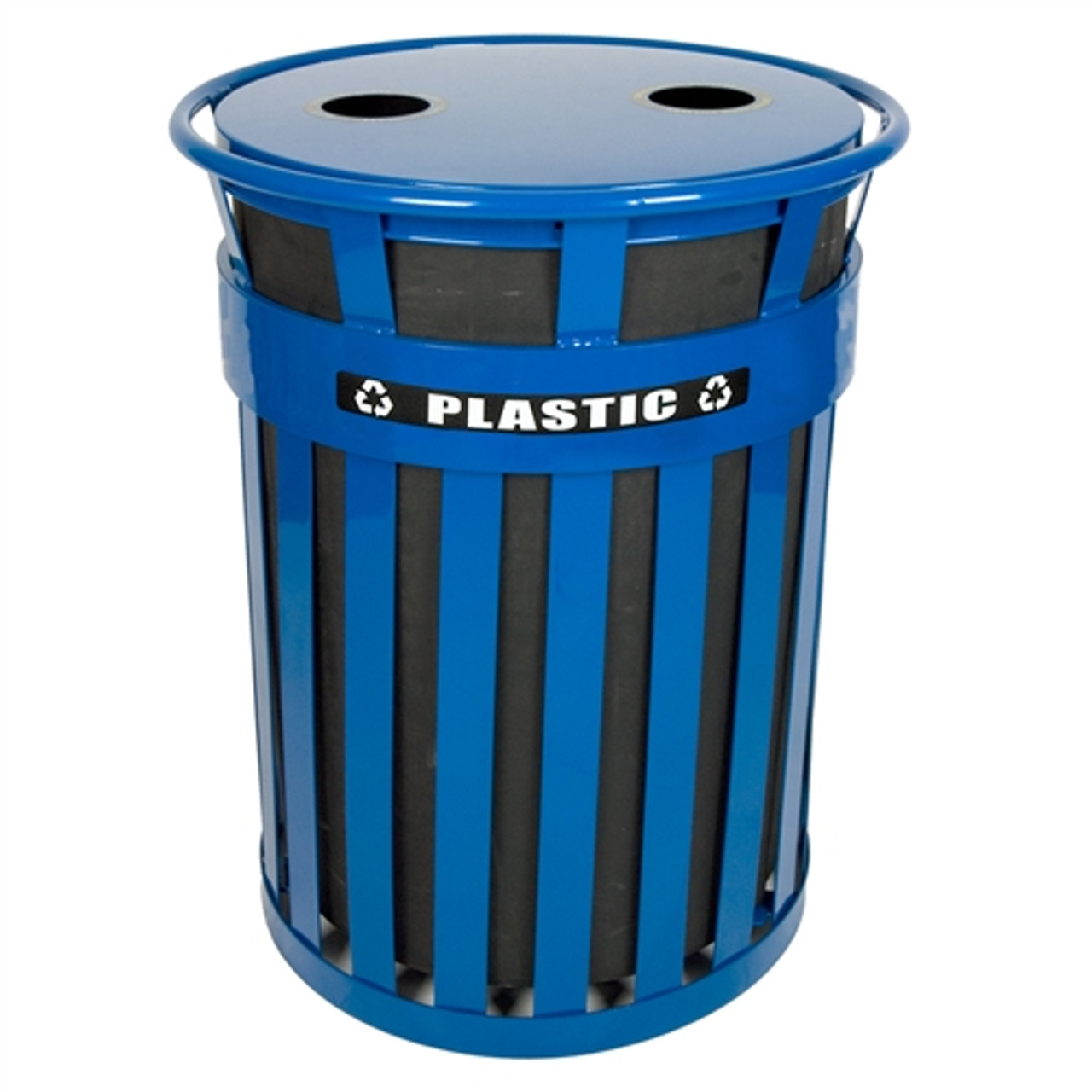 witt industries mr36 ftr bl outdoor waste can blue steel recycle