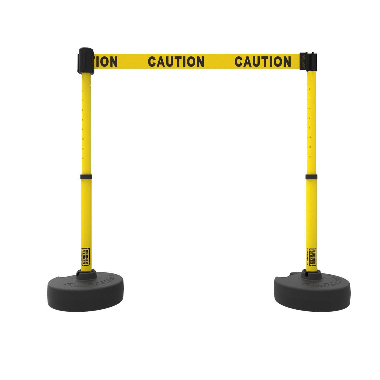retractable safety barrier set: 2 stanchions, 15' caution tape