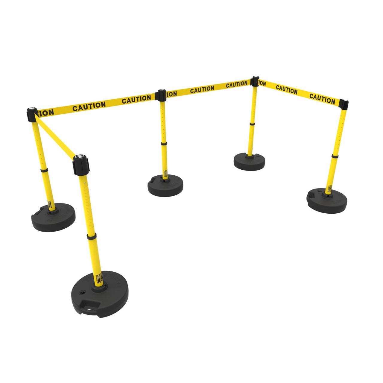 retractable safety barrier set: 5 stanchions, 60' caution tape