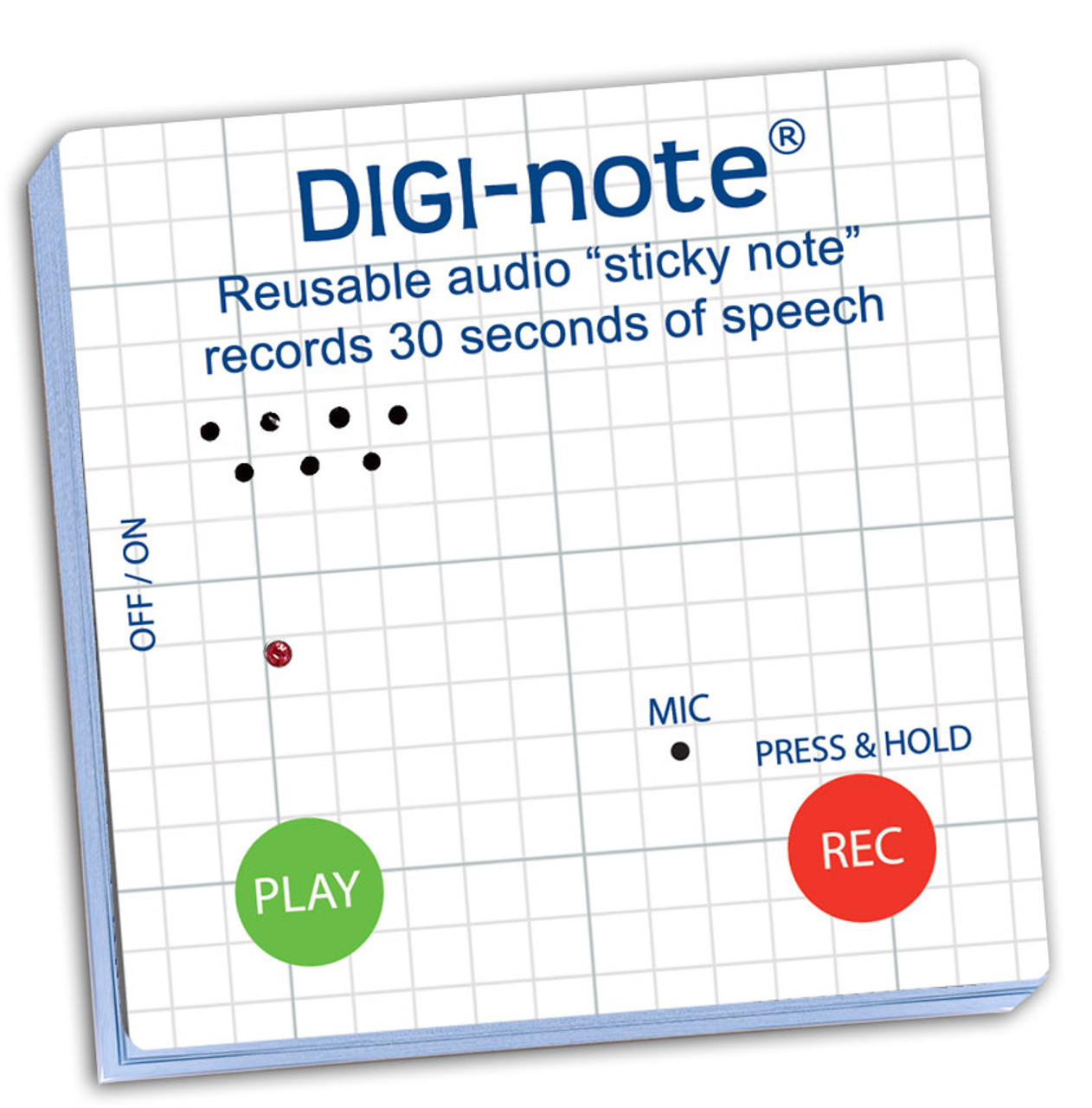 Digi-note voice recording sticky note pad