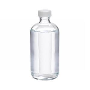 8oz Glass Boston Round Bottle, PP Cap, PTFE Lined Caps, case/12