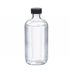8oz Glass Boston Round Bottle, Polyethylene Cone Lined Caps, case/12