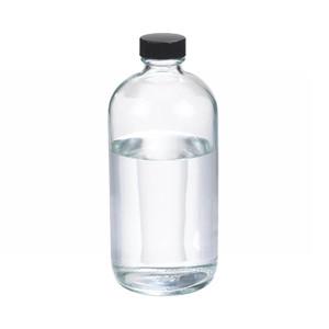 16oz Glass Boston Round Bottle, Polyethylene Cone Lined Caps, case/12
