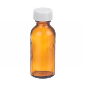 1oz Amber Glass Boston Round Bottle, Poly Vinyl Liner, case/48