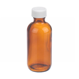 2oz Amber Glass Boston Round Bottle, Poly Vinyl Liner, case/24