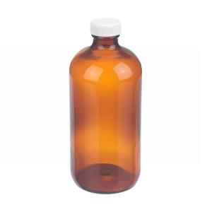 16oz Amber Glass Boston Round Bottle, Poly Vinyl Liner, case/12