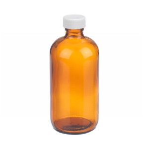 8oz Amber Glass Bottle, PP Cap, PTFE Liner, case/12