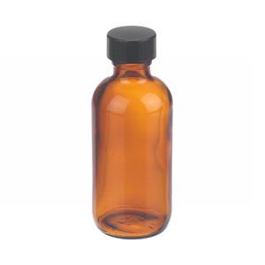 2oz Amber Glass Boston Round Bottle, Polyethylene Cone Liner, case/24