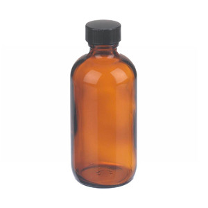 4oz Amber Glass Boston Round Bottle, Polyethylene Cone Liner, case/24