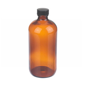 16oz Amber Glass Boston Round Bottle, Rubber Lined Caps, case/12