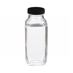 16oz French Square Glass Bottle, Clear, Rubber Lined Caps, case/24
