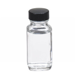 2oz French Square Glass Bottle, Clear, Polyethylene Cone Liner, case/48