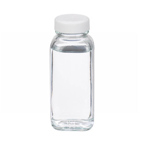 4oz French Square Glass Bottle, Clear, Poly Vinyl Liner, Bulk, case/120