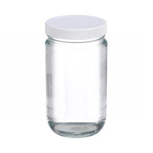 32oz Glass Jar, Straight Side Clear, Poly Vinyl Liner, case/12