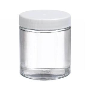 4oz Glass Jar, Straight Side Clear, PP/PTFE Liner, case/24
