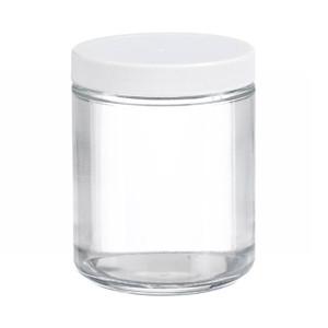 8oz Glass Jar, Straight Side Clear, PP/PTFE Liner, case/12
